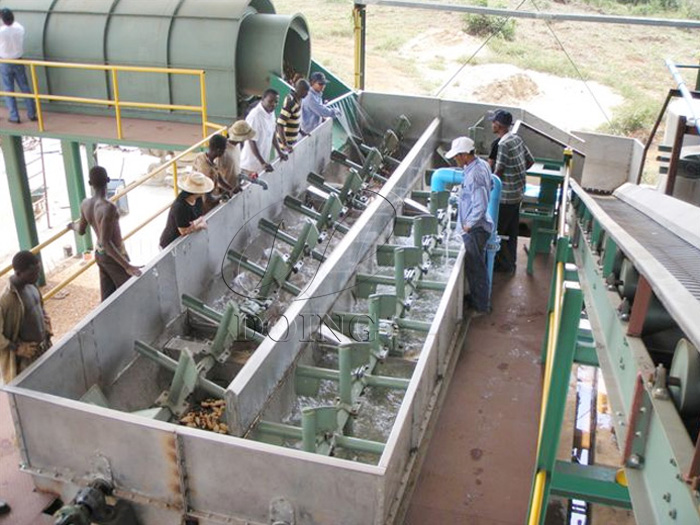 What is the water consumption in cassava starch processing line?