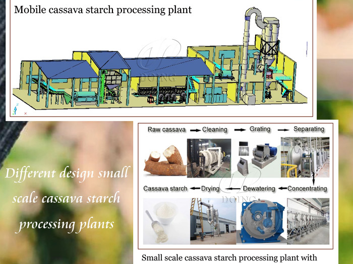 Different design small scale cassava starch processing plants