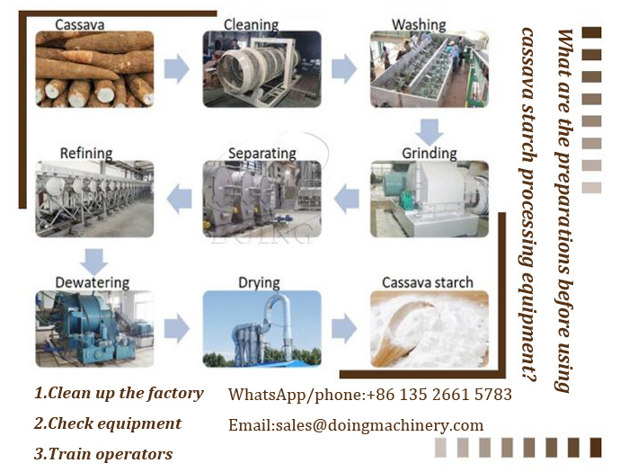 What are the preparations before using cassava starch processing equipment?
